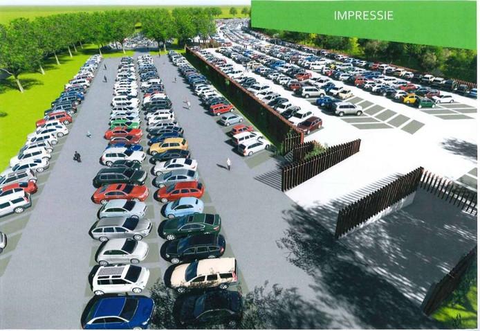 Impressie van een parkeerdek bovenop het parkeerterrein van Apenheul. Illustratie gemeente Apeldoorn