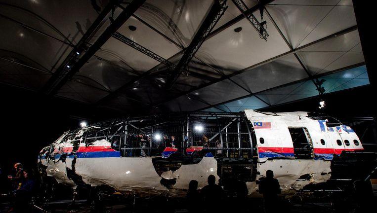 De reconstructie van het neergehaalde vliegtuig Beeld ANP
