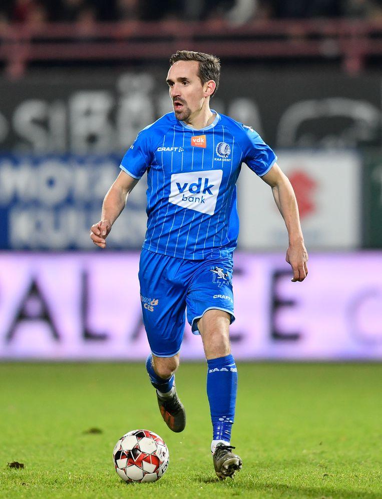 Sven Kums in de match tegen KV Kortrijk, afgelopen zondag. Vader Kums: 'Hij is weer in een warm nest terechtgekomen.' Beeld BELGA