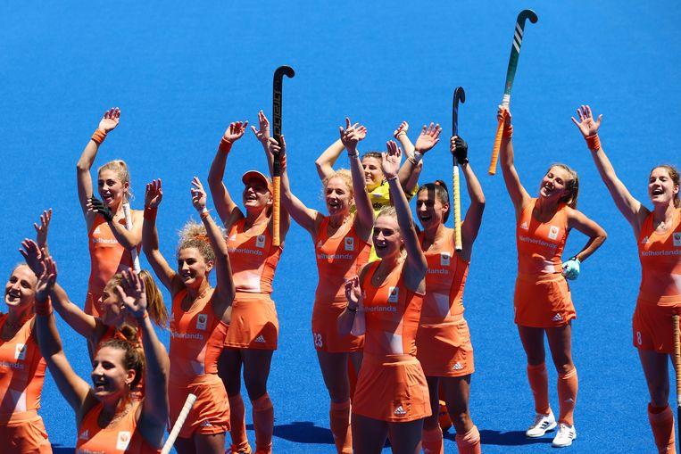 De Nederlandse hockeydames strijden vandaag in Tokio om goud.  Beeld REUTERS