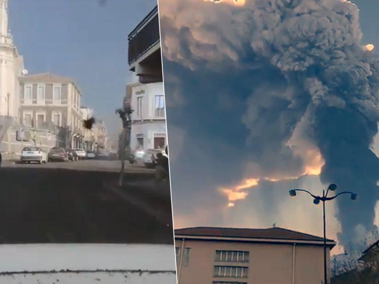 Bestuurder filmt hoe vulkanisch puin op auto tikt tijdens nieuwe uitbarsting Etna