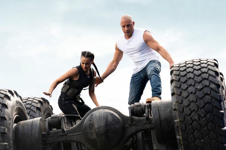 Jordana Brewster en Vin Diesel in 'F9: The Fast Saga'. Beeld AP