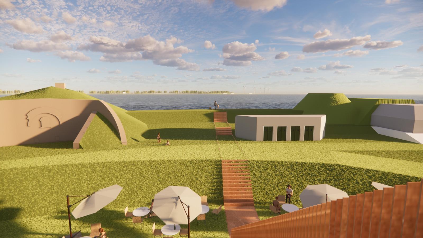 Sfeerimpressie plannen Fort Buitensluis: achterzijde fort met nieuw terras.