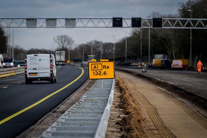 Werkzaamheden aan de verbreding van de A1 bij Enter.