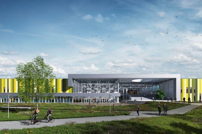 Een artist's impression van de ingang van het Atrium van de Brainport Industries Campus (BIC).