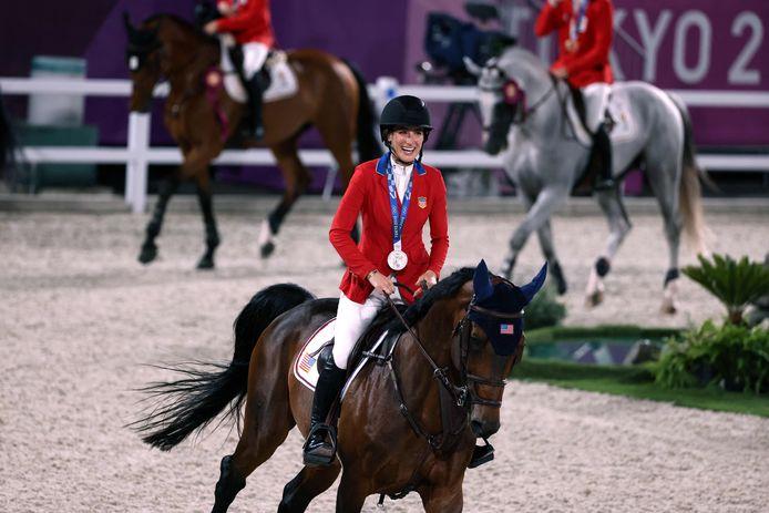 Jessica Springsteen op haar paard Don Juan van de Donkoeve tijdens de olympische finale in Tokio.