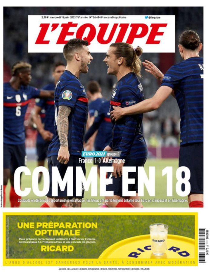 De cover van L'Équipe.