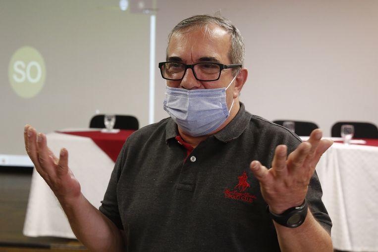 President van de Farc-partij Rodrigo Londoño Echeverri, die nu wordt omgedoopt tot de Partido Communes. Archiefbeeld. Beeld EPA