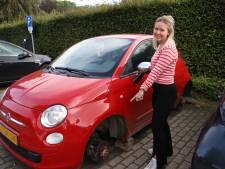 Emi (18) baalt als een stekker: alle vier de wielen van haar auto werden vannacht gestolen