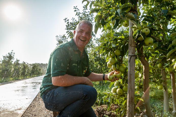 Fruitteler Joël Roks had vorige zomer een kluif aan de zomerse dagen. Door de hete zon verbrandde een deel van de appels. Gelukkig wist hij door beregening het overgrote deel koel te houden.