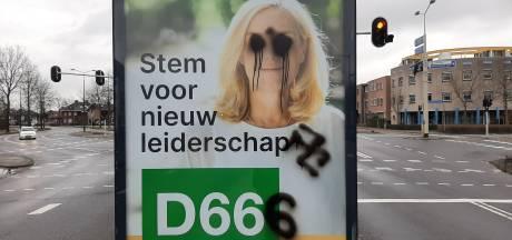 D66-poster in Apeldoorn beklad met hakenkruis: 'Dit is geen kattenkwaad, maar vandalisme'