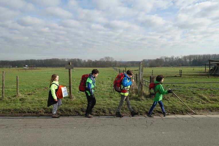 Dapper vervolgen Finn (9), Lucie (11), Maxime (12) en Gust (12) hun weg.  Beeld Michiel Martin