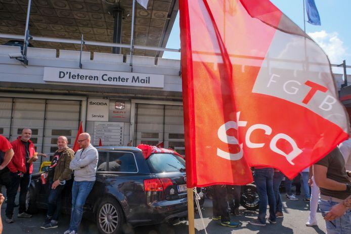 Manifestation au siège de D'Ieteren