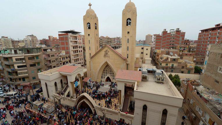 De kerk in Tanta waar zondag een bom ontplofte Beeld AFP