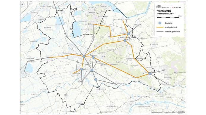 De geplande snelfietsroutes in de provincie Utrecht