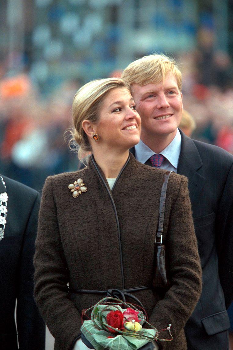 Toen nog Prins Willem-Alexander met zijn verloofde Máxima Zorreguieta Beeld Sygma via Getty Images
