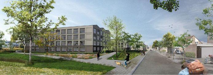 Nieuwe sociale woningen die op stapel staan in Kronenbergstraat in Tilburg.