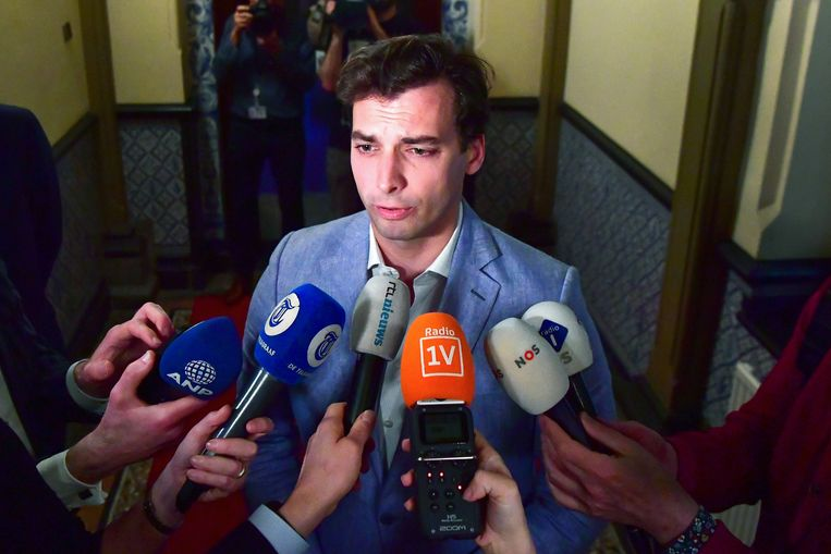 Thierry Baudet veegde de verkiezingsvloer aan met de centrumpartijen in Nederland. Beeld AFP