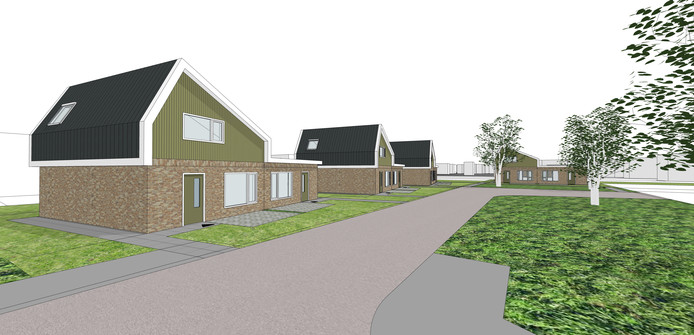 Impressie van de acht woningen die Reggewoon aan de Jan Jansweg laat bouwen.