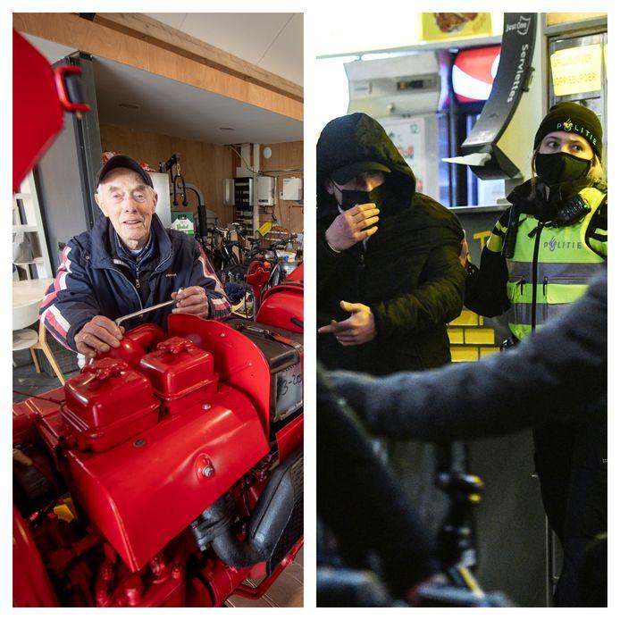Links: Johan Coes. Rechts: de politie in actie op de Oude Markt.