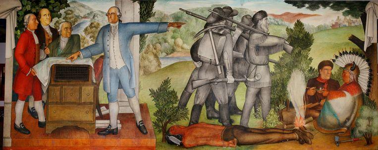 Een muurschildering in een school in San Francisco laat het leven van George Washington zien, maar met grimmige details: in dit geval een dode indiaan. Beeld Victor Arnautoff
