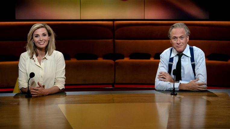 Op1-presentatoren Welmoed Sijtsma en Jort Kelder. Beeld