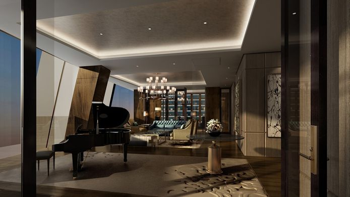 L'hôtel de 21 étages compte 306 chambres et suites, dont cette espace présidentiel.