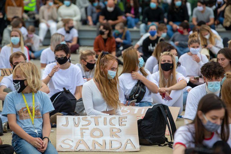 Studenten demonstreren voor gerechtigheid voor Sanda Dia.  Beeld BELGA