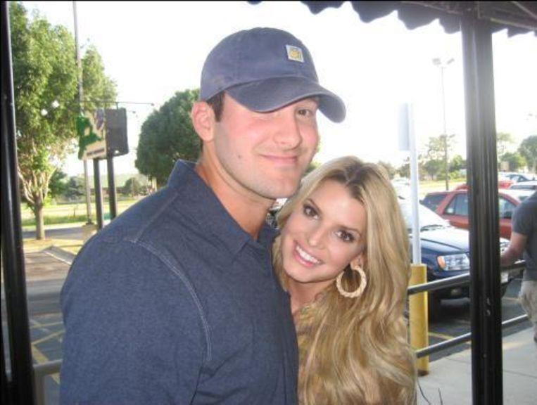 Tony Romo en Jessica Simpson. Beeld UNKNOWN