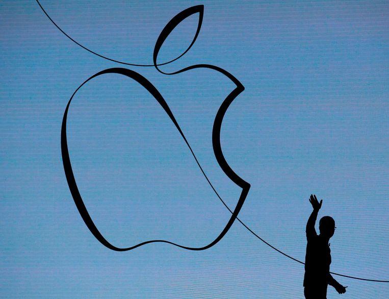 Apple CEO Tim Cook op de Lane Tech College Prep High School in Chicago, Illinois in maart van dit jaar. Beeld AFP
