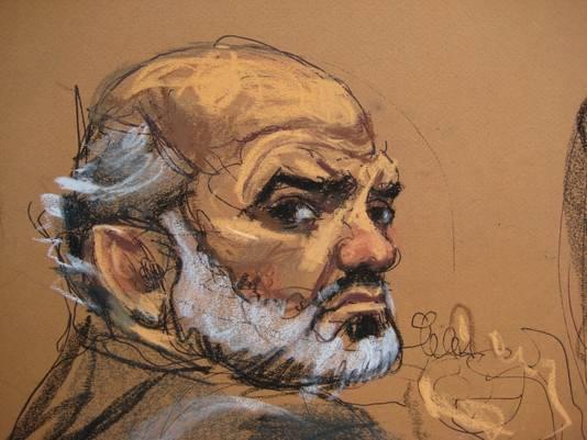 Een schetstekening van Suleiman Abu Ghaith tijdens het proces.