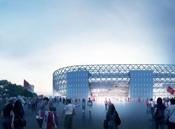 Het nieuwe Feyenoordstadion van dichtbij. De gekruiste balken in de gevel zijn goed zichtbaar.