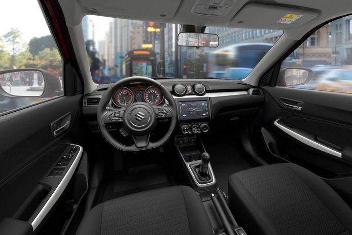 Het interieur van de Suzuki Swift.