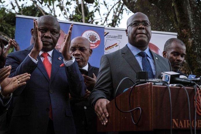 Vital Kamerhe (links) en president Félix Tshisekedi op archiefbeeld.