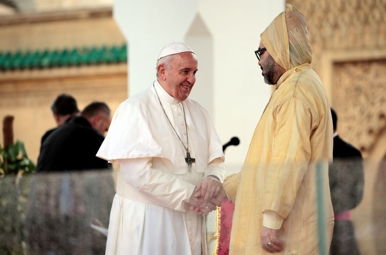 Paus Franciscus en de Marokkaanse koning Mohammed IV. Beeld REUTERS