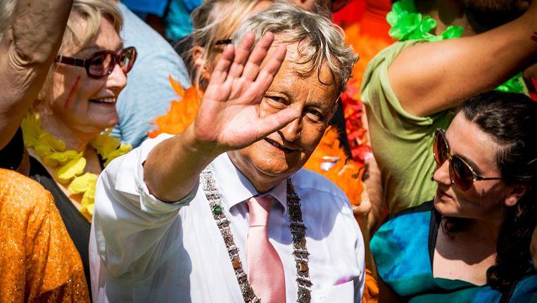 Van der Laan tijdens Gay Pride in 2016 Beeld ANP