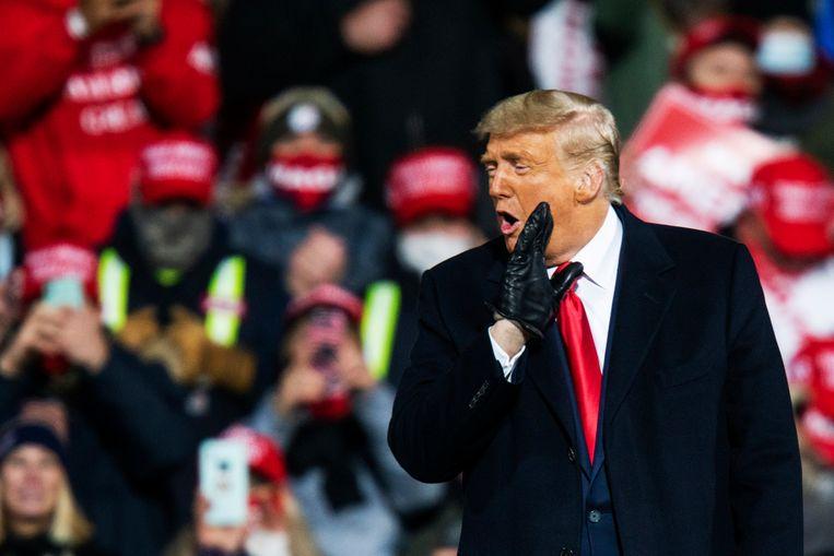 De Amerikaanse president Donald Trump spreekt op een rally in Montoursville, Pennsylvania. Beeld Getty Images