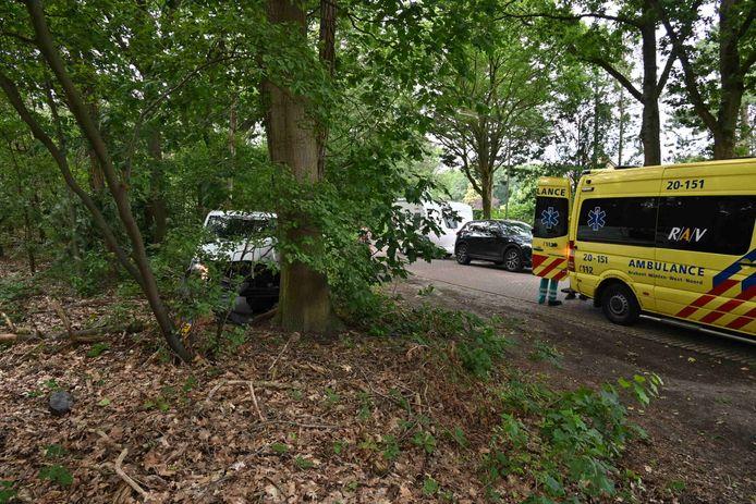 Een pakketbezorger is donderdagmiddag rond 13.20 uur met zijn bus tegen een boom gereden op de Zandspui in Etten-Leur.