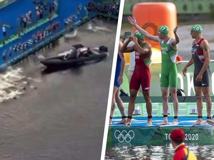 Un bateau a perturbé le départ du triathlon.
