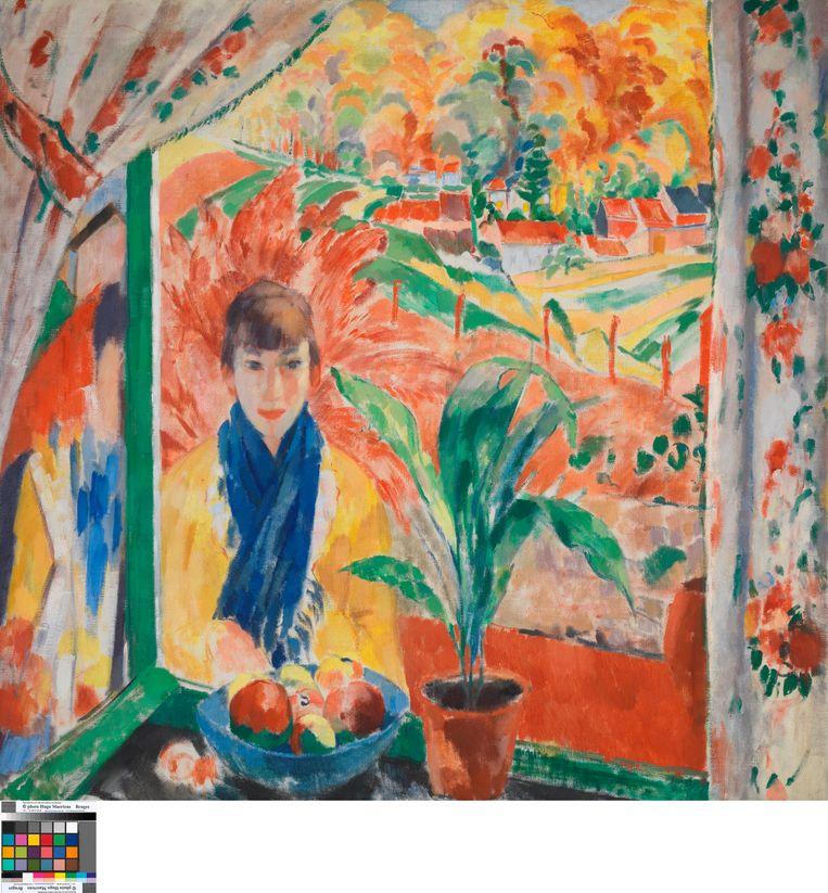 Herfst, 1913, olieverf op doek. Wouters' vrouw en muze Nel staat buiten aan een raam en kijkt naar binnen. Vurig landschap op de achtergrond, alsof de felle herfstkleuren de wereld in brand zetten. Beeld rv © Lukas - Art in Flanders vzw. Foto Hugo Maertens