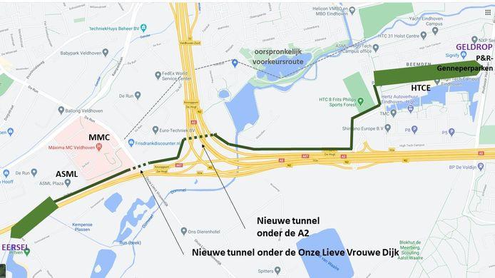 Kritische buurtbewoners komen met een eigen variant voor het snelfietspad bij de wijk Ooievaarsnet in Eindhoven. Dit vergt wel de aanleg van 2 tunnels. Ook zijn de grondeigenaren niet voor.