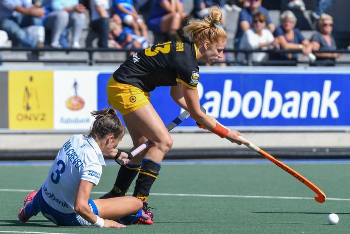 Margot van Geffen in een van haar spaarzame wedstrijden voor HC Den Bosch dit jaar. Door een blessure was ze er lang niet bij.