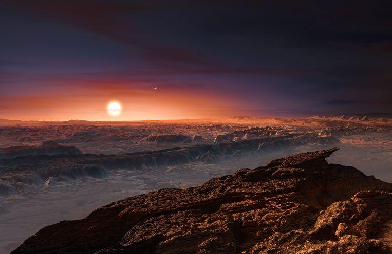 Artistieke impressie van Proxima B. Die dateert van toen die planeet enkele maanden geleden ontdekt werd. Beeld AFP