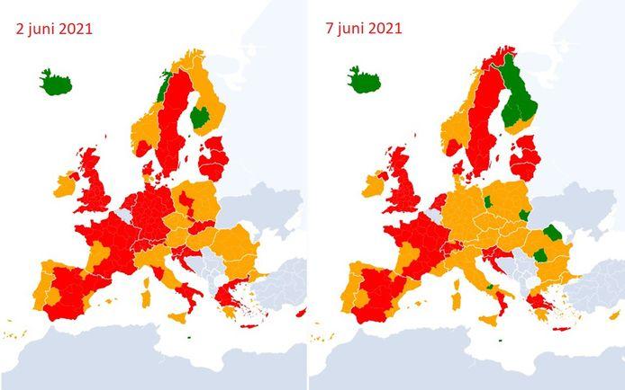De coronakaart van Europa ziet er een pak oranjer uit.