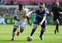 Luciano Narsingh in actie voor Swansea City op 14 april 2018. Afgelopen seizoen speelde hij slechts 43 minuten in het Championship.