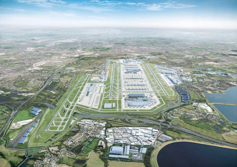 Zo zou de luchthaven van London Heathrow eruit zien met een derde landingsbaan. Beeld AFP