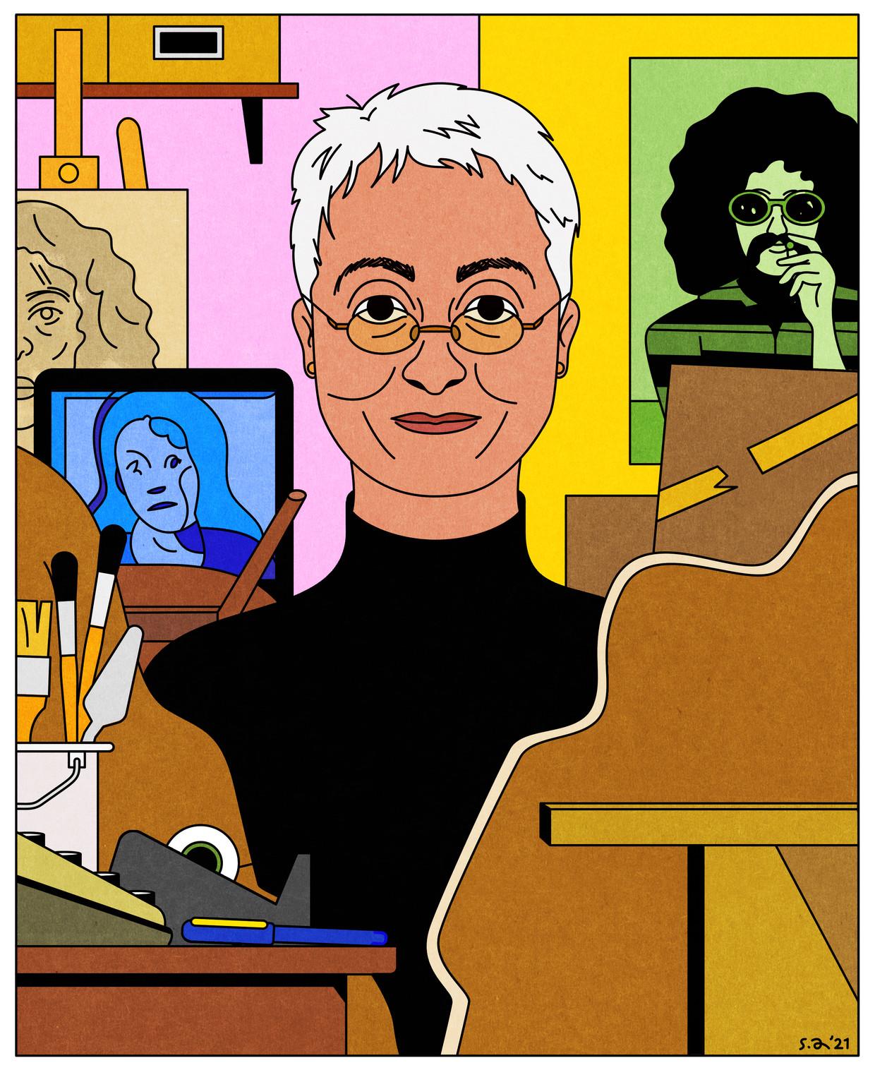 Adrian Piper in haar studio, omringd door verschillende van haar vroegere kunstprojecten Beeld Seb Agresti