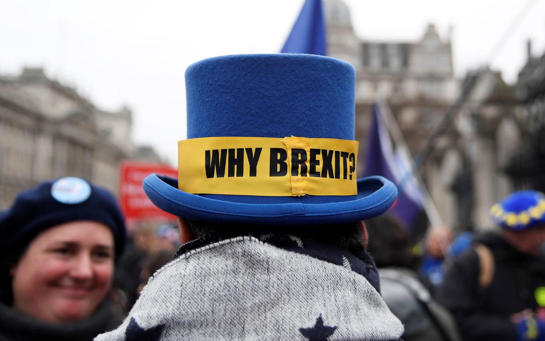 Ondanks dat de Britten vrijdag de Europese Unie verlaten werd er donderdag nog tegen de Brexit geprotesteerd.  Beeld Reuters