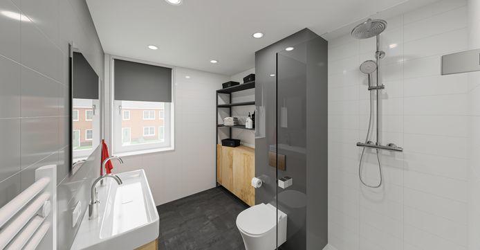 Voorbeeld van een geïndustrialiseerd gebouwde badkamer.