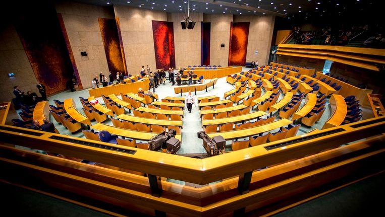 De plenaire zaal van de Tweede Kamer gezien vanaf de publieke tribune Beeld anp